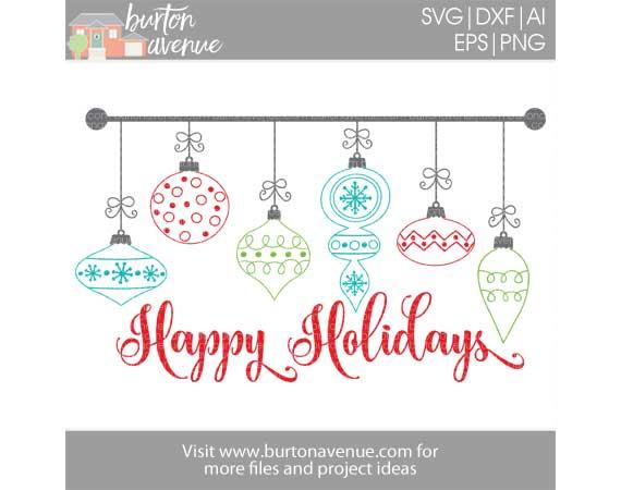 Happy Holidays w/Ornaments
