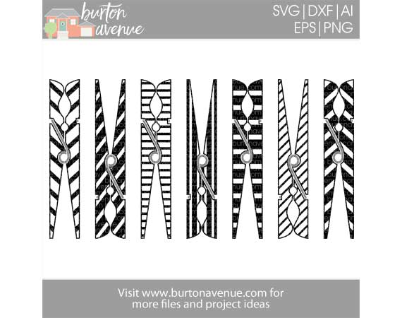 Striped Clothespins