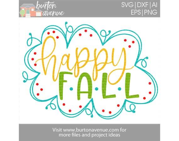 Happy Fall w/Doodle Border