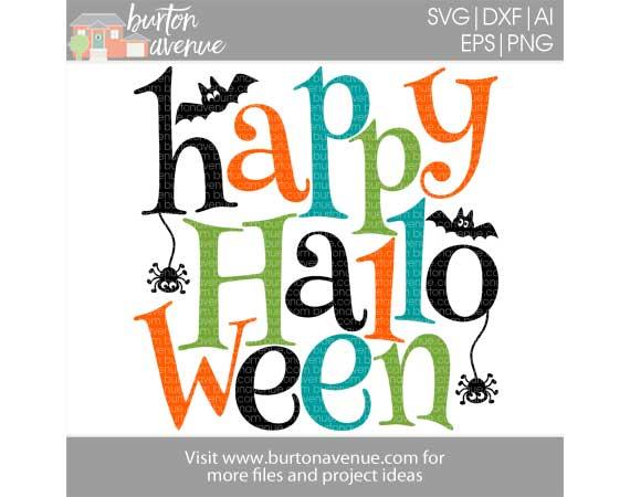 Happy Halloween w/Bats & Spiders