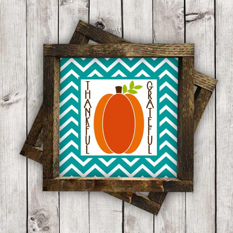 Grateful – Thankful Pumpkin w/Chevron Frame